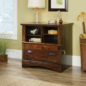 Lockable Lateral File Cabinet Shelving Drawer Storage Wood Office Classy Cherry