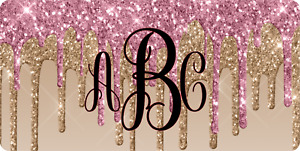 Custom Personalized Monogrammed Pink And Gold Glitter Vanity License Plate