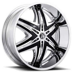 4 24 Diablo Wheels Elite Chrome With Black Insert Rims Tire And Tpms