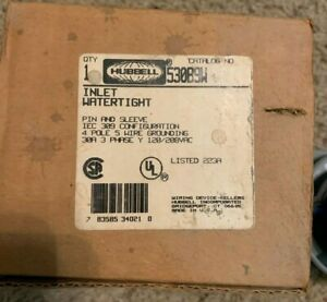 Hubbell Bryant 530b9w 4 Pole 5 Wire 30a Pin And Sleeve Inlet Ip 67 Watertight