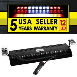 12 Led Car Red White Red Emergency Warning Dash Visor Flash Strobe Light Bar Us