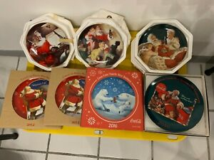 Coca-Cola Xmas 7 Plates Santa Claus The Franklin Mint Collection - Rare Editions