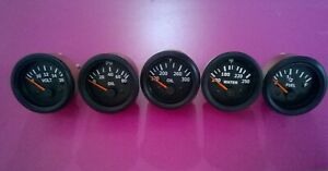 El Gauges 52mm 5pc oil Temp Water Temp Gauge Oil Fuel Volt Gauge Black Bezel
