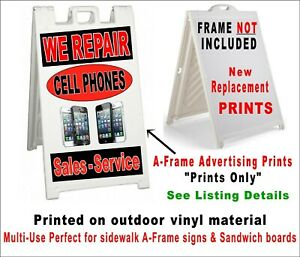 We Repair Cell Phones 2 Prints For A frame Sidewalk Sandwich Board Sign