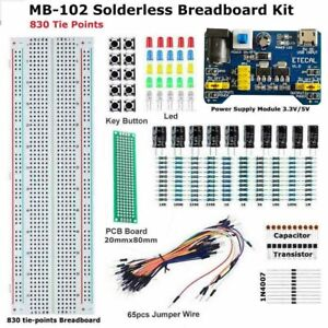 Solderless Breadboard Protoboard 830 Tie Points Test Mb 102 Pcb Learning Set Kit