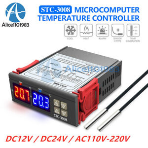 Stc 3008 12v 24v 110 220v Dual Led Thermostat Temperature Controller With Probe