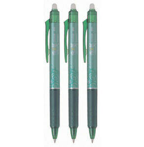Pilot Frixion Clicker Rt Gel Pen Extra Fine Point 0 5mm Green Ink 3 Count