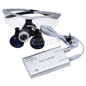 Dental 3 5x Surgical Magnifier Medical Binocular Loupes With Led Light Lamps