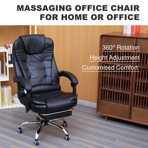Massage Reclining Swivel Office Chair Desk Computer Gaming Chair W Footrest