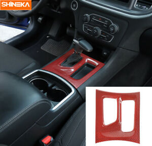 Console Gear Shift Box Panel Trim Cover For Dodge Charger 2015 Red Carbon Fiber