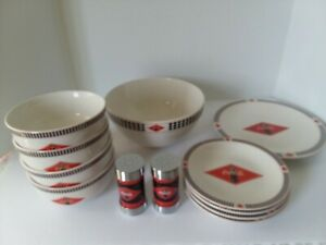 VINTAGE COCA COLA DINNERWARE SET FROM GIBSON INCLUDING SALAD BOWLS PLATES & MORE