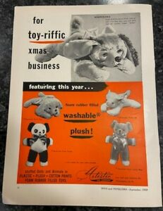 Vintage 1953 Artistic Stuffed Dog Bear sd2 Emenee Clarinet Rare Toy Print Ad