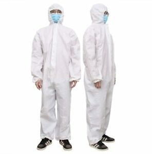 2pc Hazmat Protective Suit Gown Coverall Personal Protection Zip Frnt W Tape