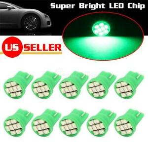 10x Green T10 168 W5w 194 Light Bulb Smd Led Gauge Panel Cluster Dashboard Lamp