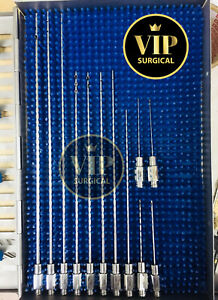 Luer Lock Liposuction Cannula Set Of 12 Pcs With Handle Plastic Surgery