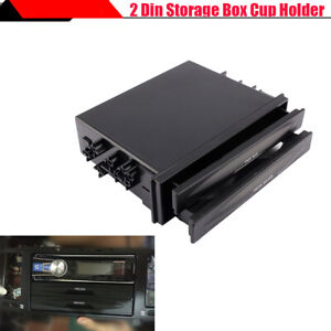 Suv Car Modified Dual Layer Double Din Storage Box Sundries Organizer Cup Holder