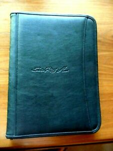 Leeds Black Faux Leather Zipper Portfolio Organizer Folder Embossed W sea Ray