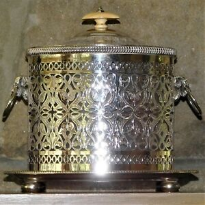 Victorian Mid 19th Century Silver Plate Biscuit Box