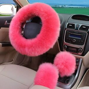 3pc Pink Australia Wool Fuzzy Autocar Steering Wheel Cover Universal For Winter