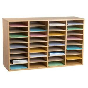 Literature Organizer Wood Adjustable 36 Compartment Furniture Rugged Durable
