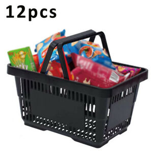 12x 28l Black Plastic Shopping Baskets W 2 Handles For Grocery Store Supermarket