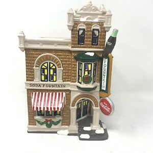 Vintage 1995 Dept 56 Coca Cola Corner Drugstore Snow Village Retired 54844