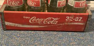 Vintage Coca Cola Wooden Crate Carrier Box for 12 32 OZ Glass Coke Bottles Red