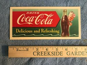 *1951 BOTTLE* Coca Cola *INK BLOTTER* Delicious and Refreshing *OLD ADVERTISING*