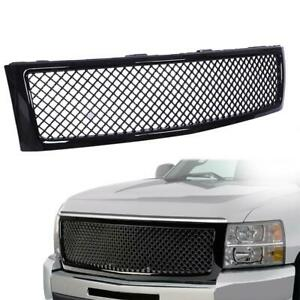 Fits 2007 2013 Chevy Silverado 1500 Glossy Black Front Bumper Hood Grille Grill