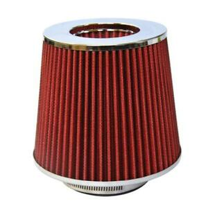 4 Inch Chrome Inlet High Flow Short Ram Cold Intake Round Cone Air Filter Red