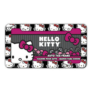 1 Pc Plastic Hello Kitty License Plate Frame Heads
