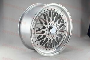 20 Rs Style Silver Face Lipped Rims Wheels Staggered Fits 5x112 35 Offset