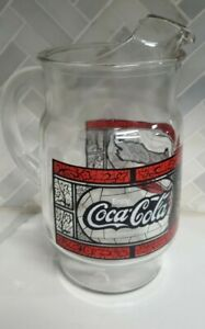 Enjoy Coca-Cola Glass Pitcher Tiffany Style Stained Glass Vintage