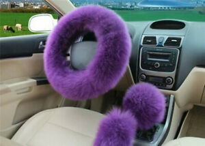 3pc Purple Australia Wool Fuzzy Auto Car Steering Wheel Cover Universal Winter