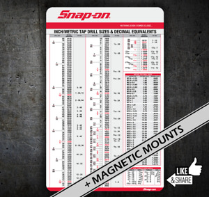 Snap on Tap Chart 064 Card Drill Sizes With Dec Equiv For Tool Chest Cart Box