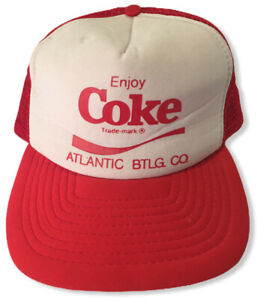 Coca-Cola Coke Snapback Trucker Hat Cap White Red Mesh