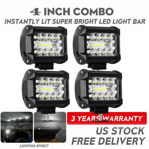 4x 4inch 800w Led Work Light Bar Flood Spot Combo Fog Lamp Offroad Driving Truck