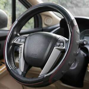 Faux Leather Car Steering Wheel Cover Good Grip Car Accessories 15 Inch Black