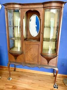 Gorgeous Victorian Cabinet With Rounded Glass Doors And Mirror