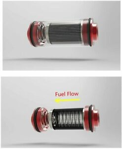 50mm Filter 100 Micron Inline Fuel Filter Mount High Flow Turbo 6 8 10an Adapter