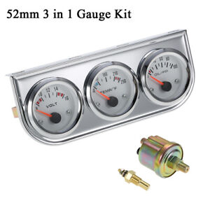 2 Chrome Triple 3 Gauges Set Volt Water Temperature Oil Pressure 3 In 1 W7v3