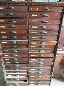 Antique Large Solid Oak 38 Drawers Printers Cabinet