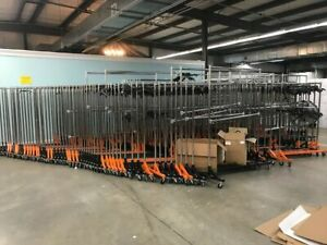Lot Of 10 Commercial Rolling Clothing Garment Z rack With Nesting Base