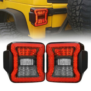 Rear Smoke Tail Lights For 07 18 Jeep Wrangler Jk Jku Rubicon Sahara Sport Pair