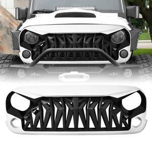 Black white Grill Front Shark Grille Guard For 07 18 Jeep Wrangler Jk Jku Abs