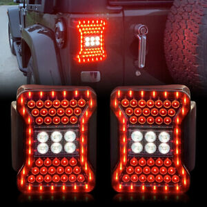 2pcs Led Tail Lights Break Reverse Turn Signal For 2007 2018 Jeep Wrangler Jk