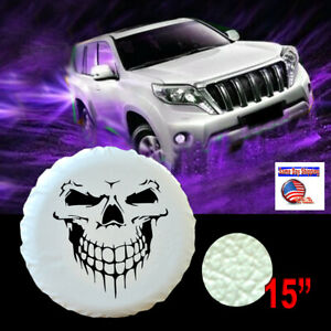 15 Pure White Spare Tire Cover Skull Cover 28 29 For Jeep Suv Trailer Rv Camper