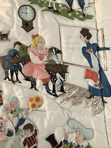 Vintage 1950s Nursery Rhyme Baby Toddler Crib Quilt Blanket Wall Hanging