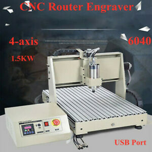 4 axis 6040 Cnc Router Engraver Engraving Usb Port Cutting Milling Machine 1 5kw