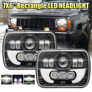 Pair 7x6 6x7inch Rectangle Led Cree Hi Lo Beam Projector Drl Bulb Headlight